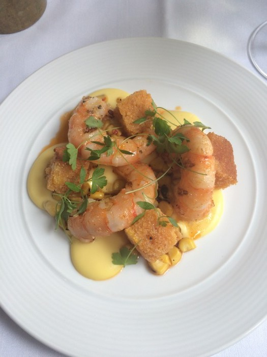 Tredwell's. the Grilled prawns, sweetcorn, cornbread, prawn butter.