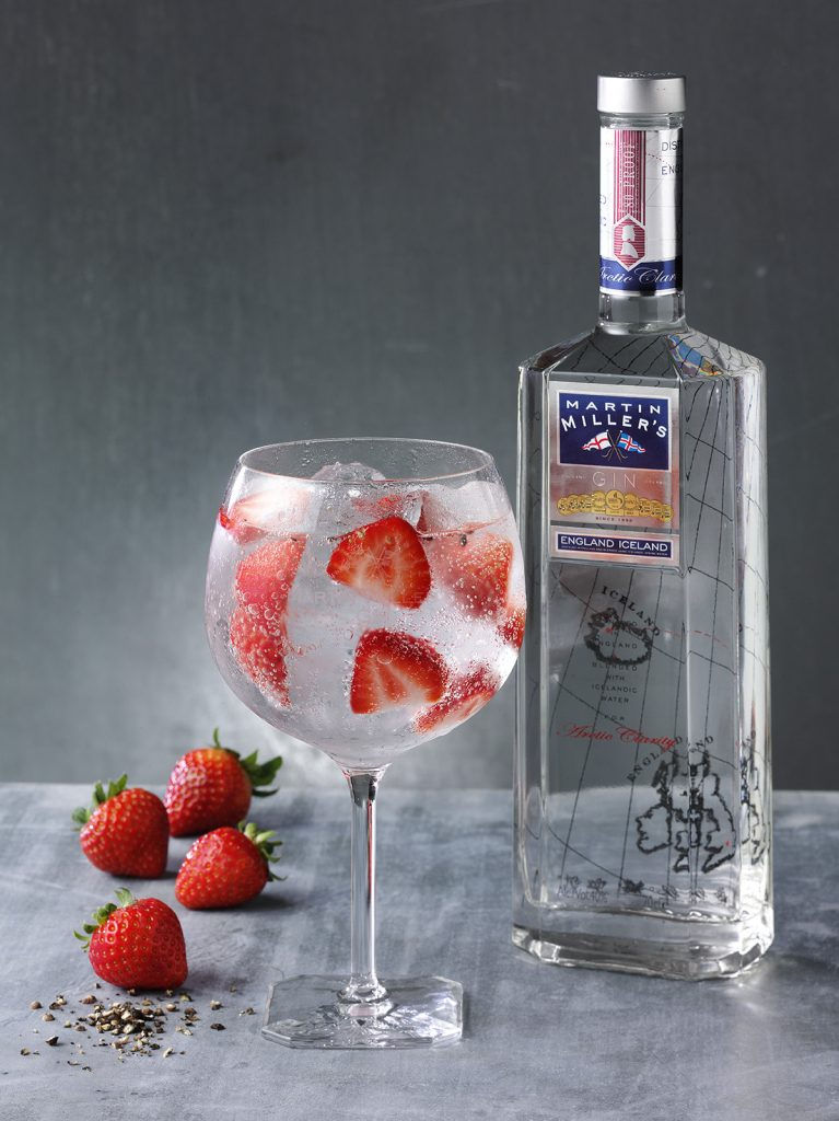 Martin Miller's Gin bottle with G&T - Strawberry& Black Pepper